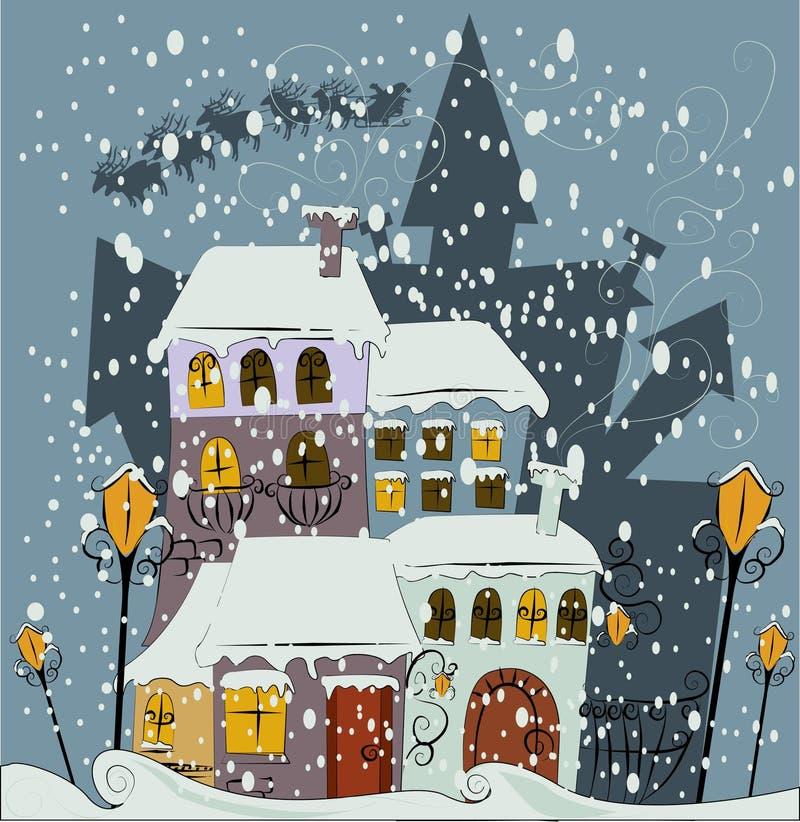 miasto Claus przychodzi Santa ilustracji