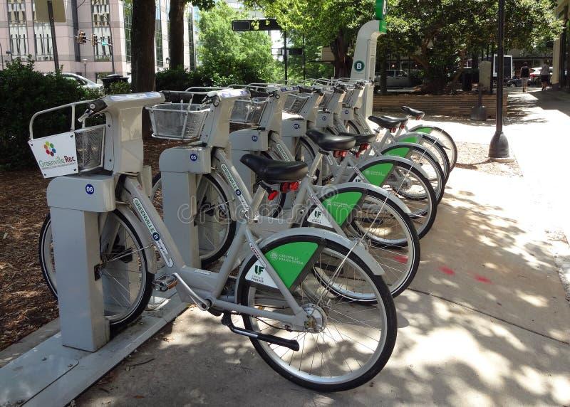 Miasto cyklu roweru stojak w Greenville, Południowa Karolina zdjęcia stock