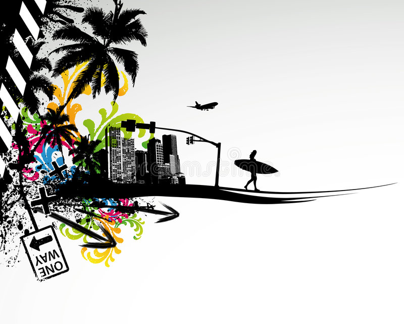 miasto dłonie lato royalty ilustracja