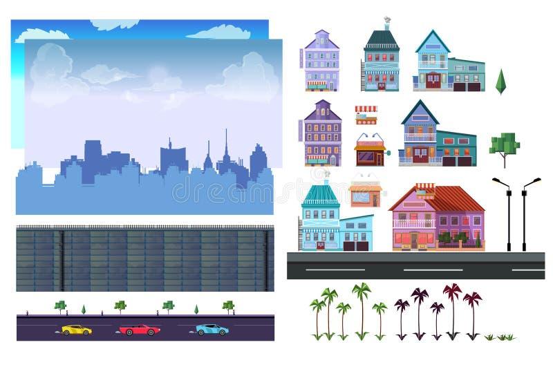 Miasto 2d gry równy zestaw royalty ilustracja