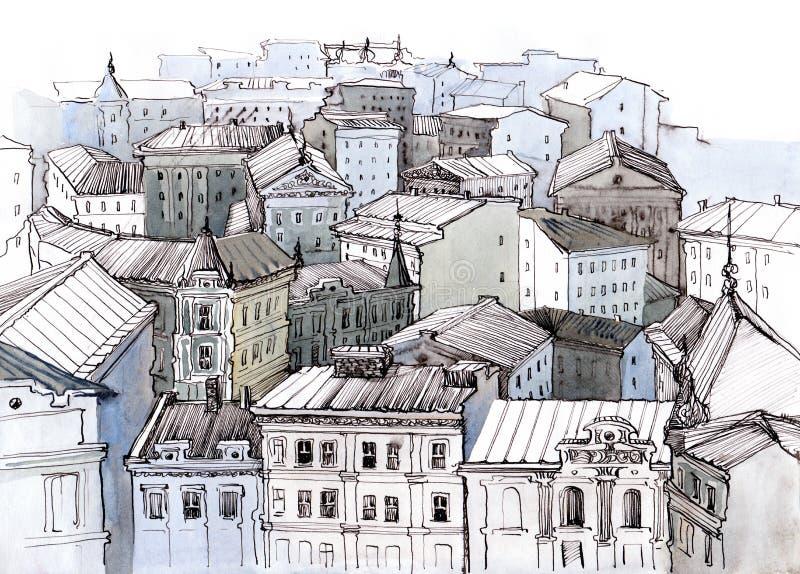 miasto dachy ilustracja wektor