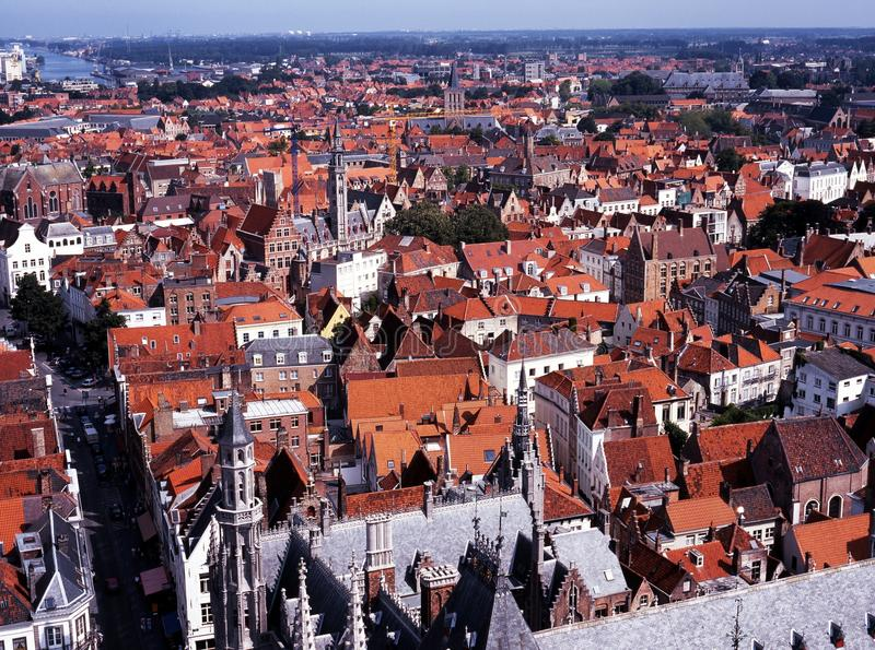 Miasto dachy, Bruges, Belgia. fotografia stock