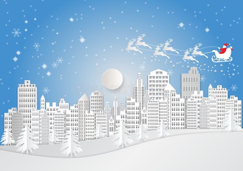 Miasto dla boże narodzenie sezonu z płatkiem śniegu i Święty Mikołaj Wektorowy ilustracja papieru sztuki styl ilustracji