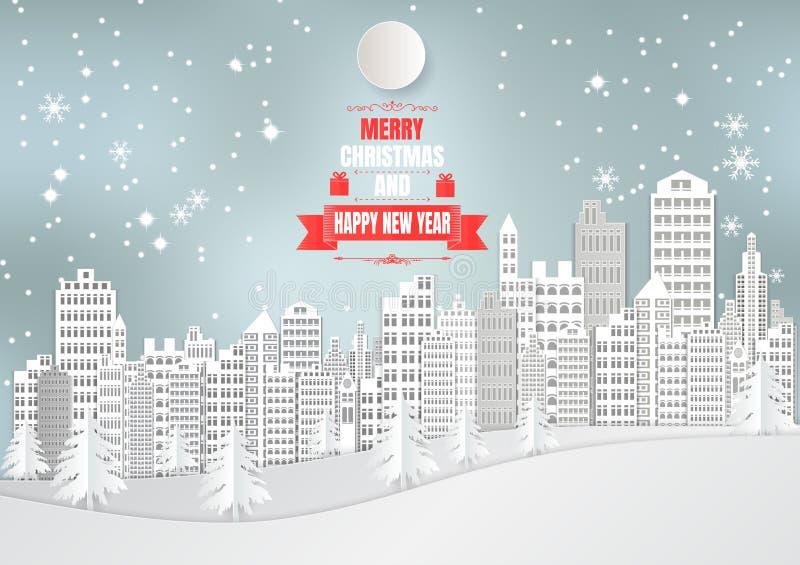 Miasto dla bożych narodzeń Przyprawia z płatkiem śniegu i drzewem Wektorowy ilustracja papieru sztuki styl ilustracji
