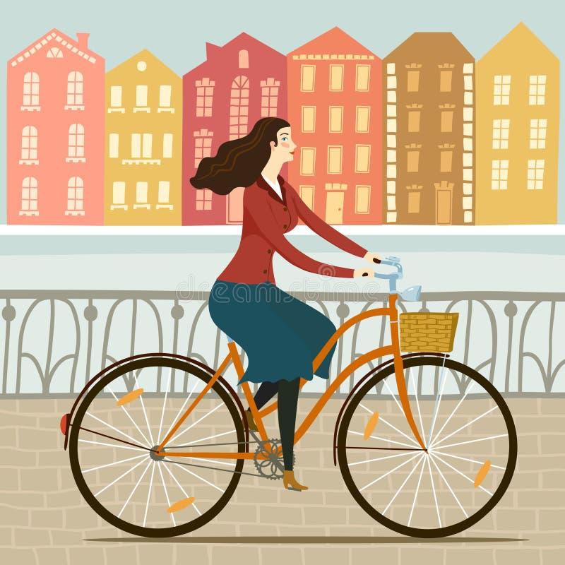 Miasto dziewczyny cyklisty ilustracja ilustracja wektor