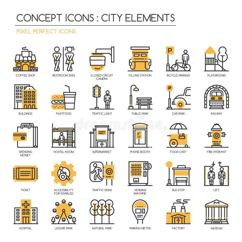 Miasto elementy, piksel Perfect ikony ilustracji