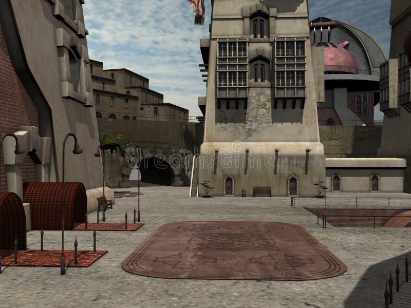 miasto fantazja royalty ilustracja