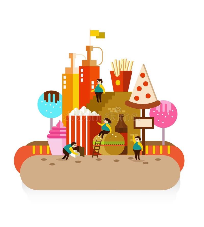 Miasto fast food i Otyli ludzie royalty ilustracja