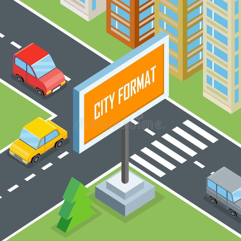 Miasto format Miastowi rozdroża z samochodami i domami royalty ilustracja