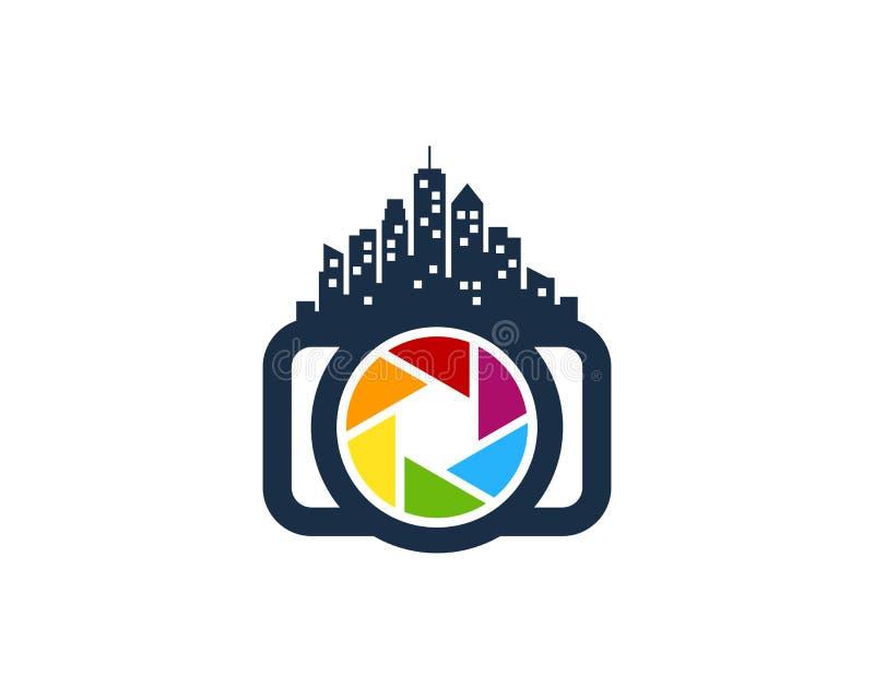 Miasto fotografii kamery ikony loga projekta Grodzki element royalty ilustracja