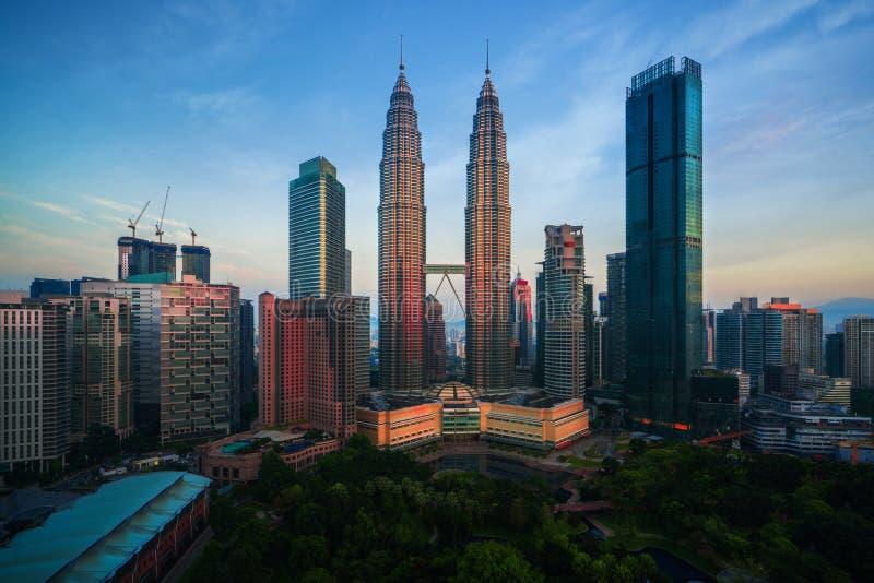 Miasto głąbik ranku wschód słońca w Kuala Lumpur mieście fotografia royalty free