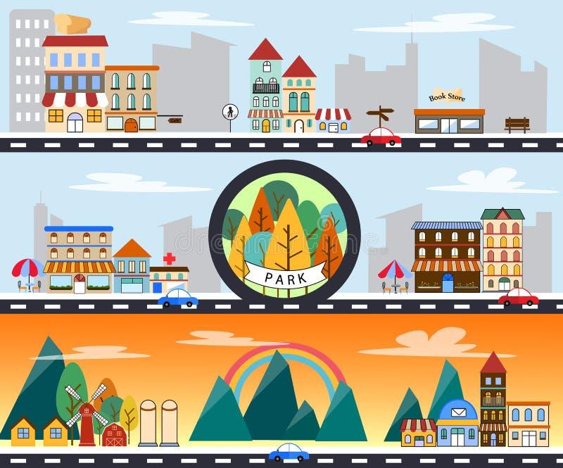 Miasto głąbika budynku miasta i wsi życia miastowa krajobrazowa wektorowa ilustracja zdjęcia royalty free