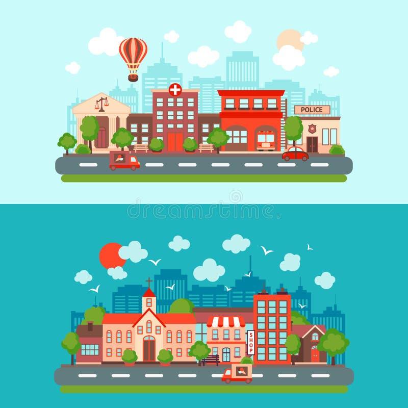 Miasto głąbika set royalty ilustracja