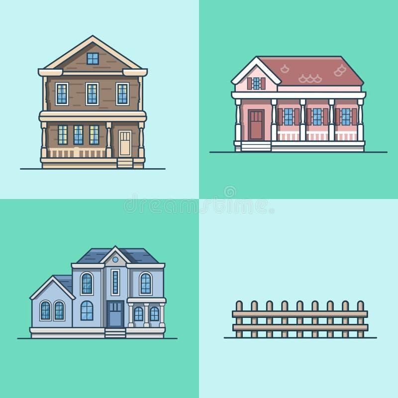 Miasto grodzkiego domu architektury przedmiot buduje set ilustracji