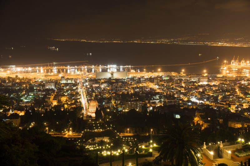 Miasto Haifa noc zdjęcia stock