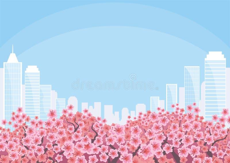 Miasto i czereśniowi okwitnięcia ilustracji