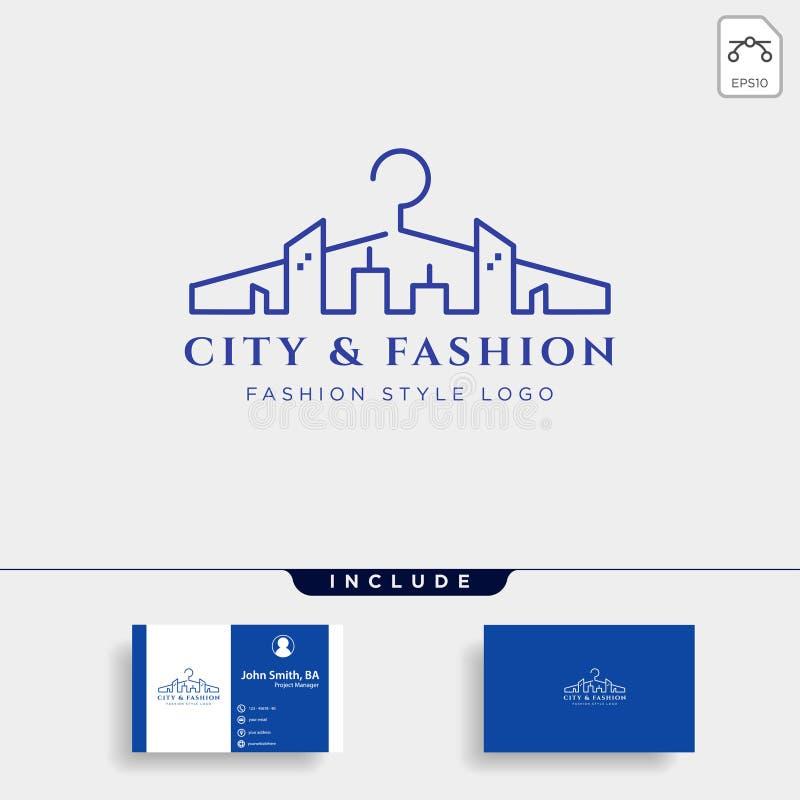miasto i moda logo szablonu wektoru prosta kreskowa ilustracja ilustracja wektor