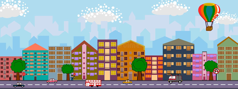 Miasto i uliczny płaski projekt royalty ilustracja