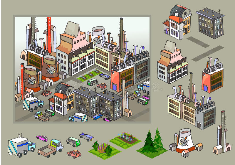 Miasto ikony, budynki, parkowa detailes część kolekcja ilustracji