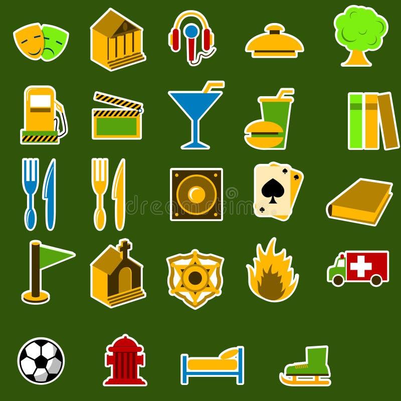 miasto ikony przedmioty odłogowania ilustracji