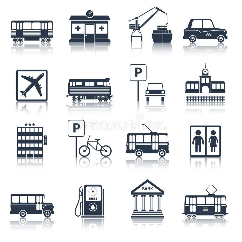Miasto infrastruktury ikon czerń ilustracja wektor