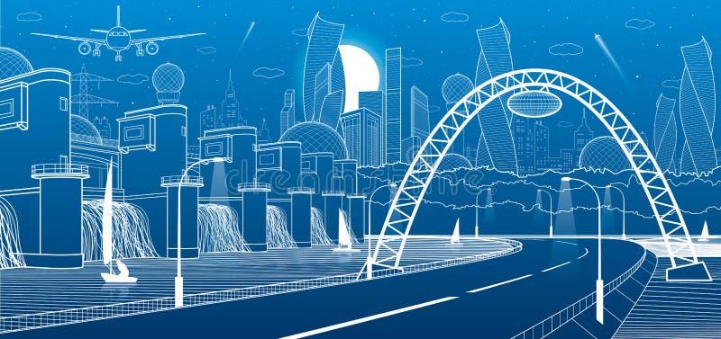 Miasto infrastruktury przemysłowa i energetyczna ilustracja Wodna elektrownia Rzeki tama Samochód droga Iluminująca autostrada bi ilustracja wektor