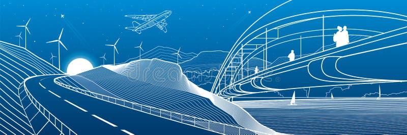 Miasto infrastruktury przemysłowa i krajobrazowa ilustracyjna panorama Ludzie spaceru przez rzeka most Samochód droga w mounta ilustracja wektor