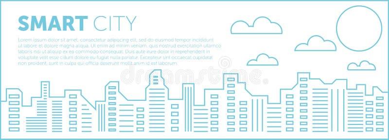 Miasto inteligentne Ilustracja sylwetek i kolorów budynków miejskich, ilustracja wektorowa ilustracji