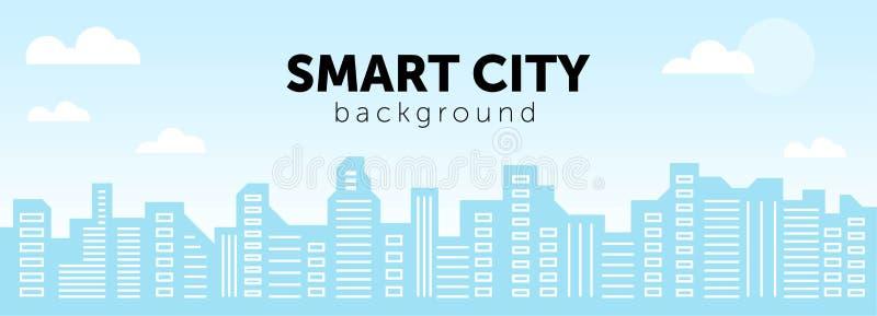 Miasto inteligentne Ilustracja sylwetek i kolorów budynków miejskich, ilustracja wektorowa royalty ilustracja
