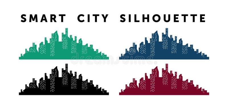 Miasto inteligentne Ilustracja sylwetek i kolorów budynków miejskich, ilustracja wektorowa ilustracja wektor