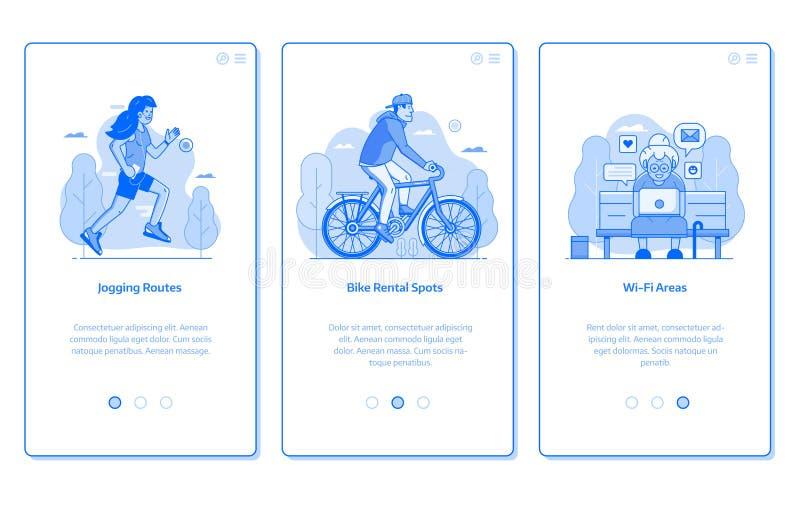 Miasto Jawnego parka infrastruktury App ekrany royalty ilustracja