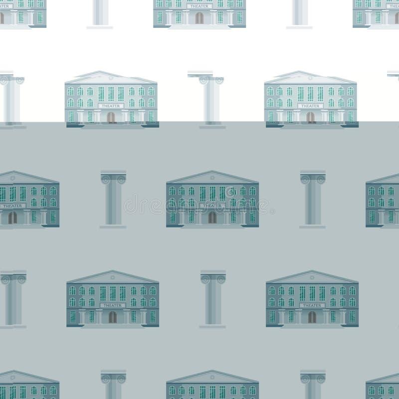 Miasto jawni budynki mieścą bezszwowej deseniowej tło projekta biura płaskiej architektury mieszkania nowożytnego ulicznego wekto royalty ilustracja