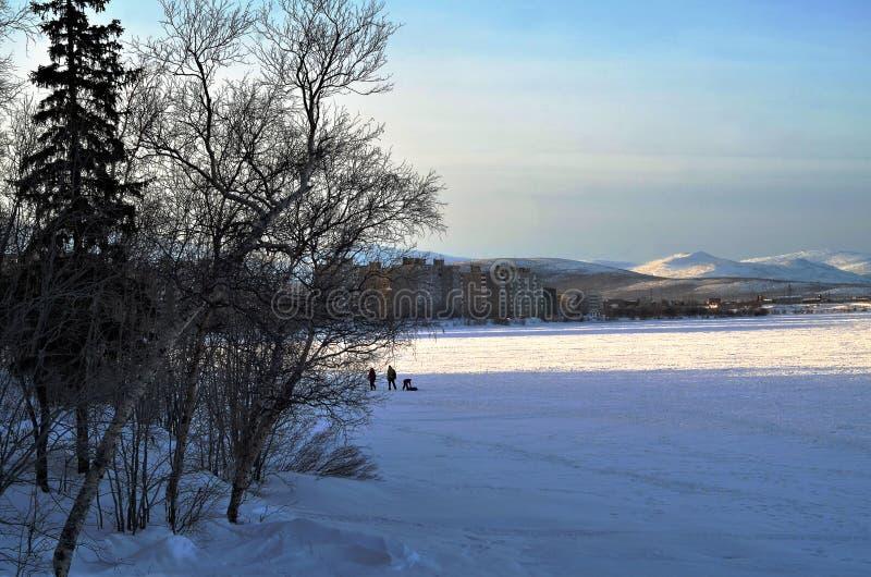 Miasto jezioro w parku miasteczko zimy skrótu północny biegunowy dzień zdjęcie stock