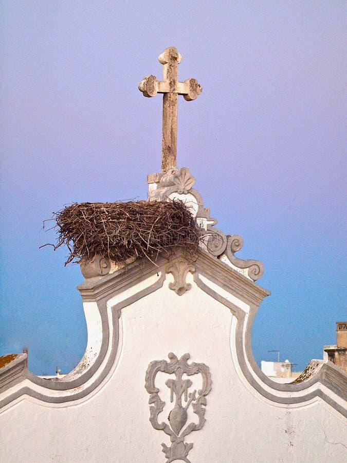 Miasto kościół Olhao w Portugalia w wieczór z zmierzchem obrazy royalty free