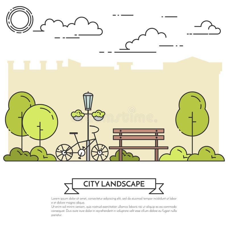Miasto krajobraz z ławką, bicykl w centrala parka Kreskowej sztuce royalty ilustracja
