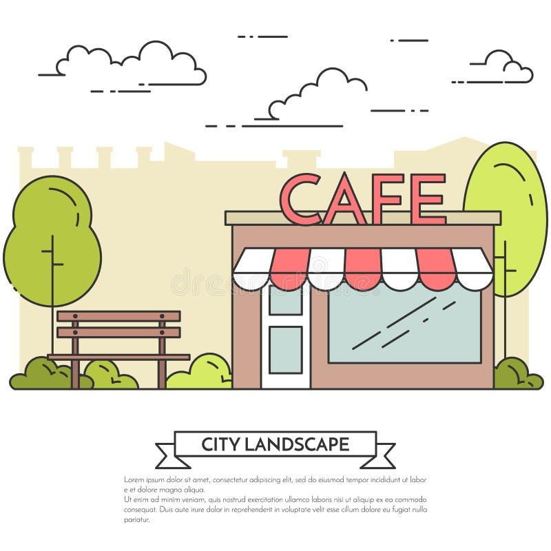 Miasto krajobraz z ławką, kawiarnia w centrala parka Kreskowej sztuce ilustracji