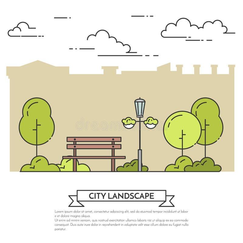 Miasto krajobraz z ławką w centrala parka Płaskiej kreskowej sztuce ilustracji