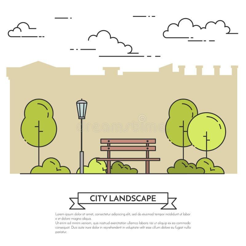 Miasto krajobraz z ławką w centrala parka Płaskiej kreskowej sztuce royalty ilustracja