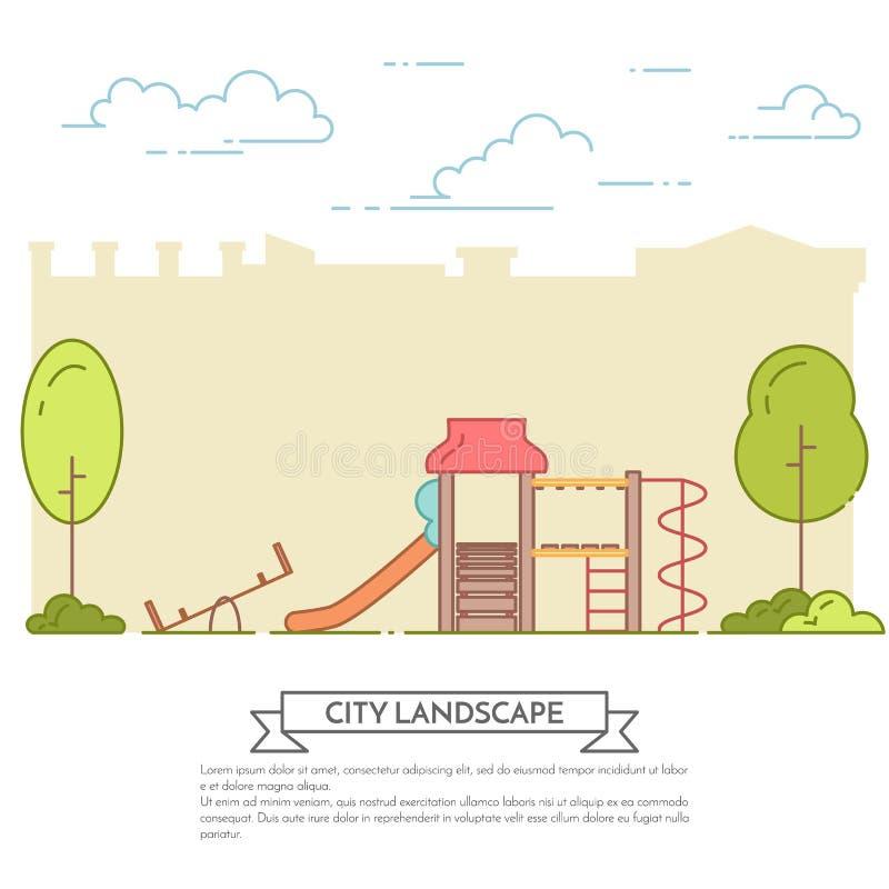 Miasto krajobraz z boiskiem w centrala parka Kreskowej sztuce ilustracja wektor