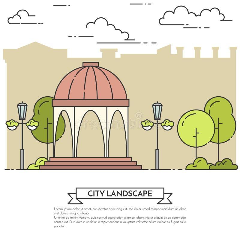 Miasto krajobraz z gazebo, lampy w centrala parka Kreskowej sztuce royalty ilustracja