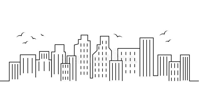 Miasto krajobrazowy szablon Cienki kreskowy miasto krajobraz Pejzaż miejski, miasto Odizolowywał kontur ilustrację Miastowego życ royalty ilustracja