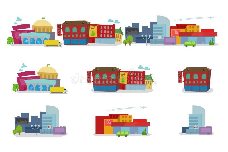 Miasto kreskówki architektura budynków domy ilustracja wektor