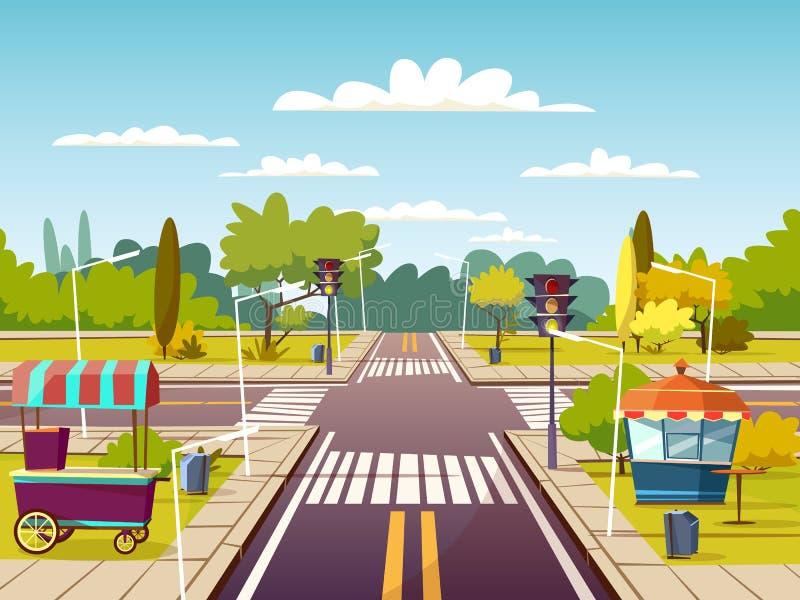 Miasto kreskówki uliczna wektorowa ilustracja ruchu drogowego pasa ruchu rozdroże z ulicznym karmowym sprzedawcą furmani na chodn royalty ilustracja