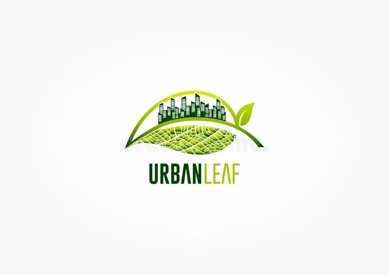 Miasto liścia logo, zieleń ogrodowy symbol, parkowa ikona i ekologii pojęcia projekt, royalty ilustracja