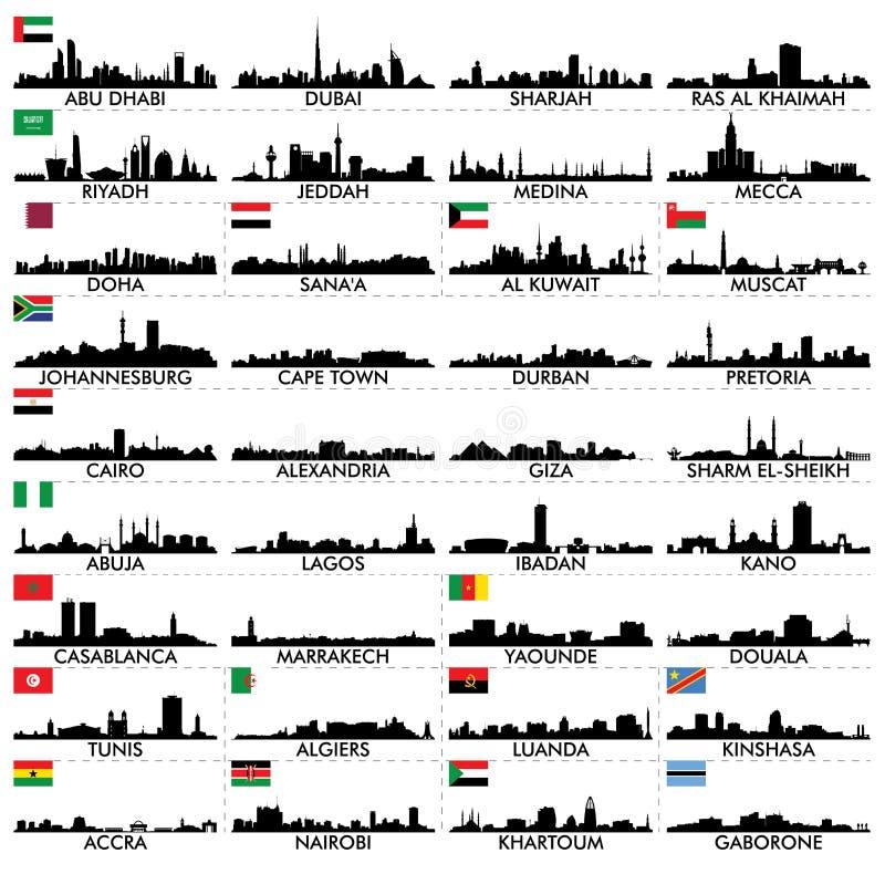 Miasto linia horyzontu Afryka i półwysep arabski royalty ilustracja