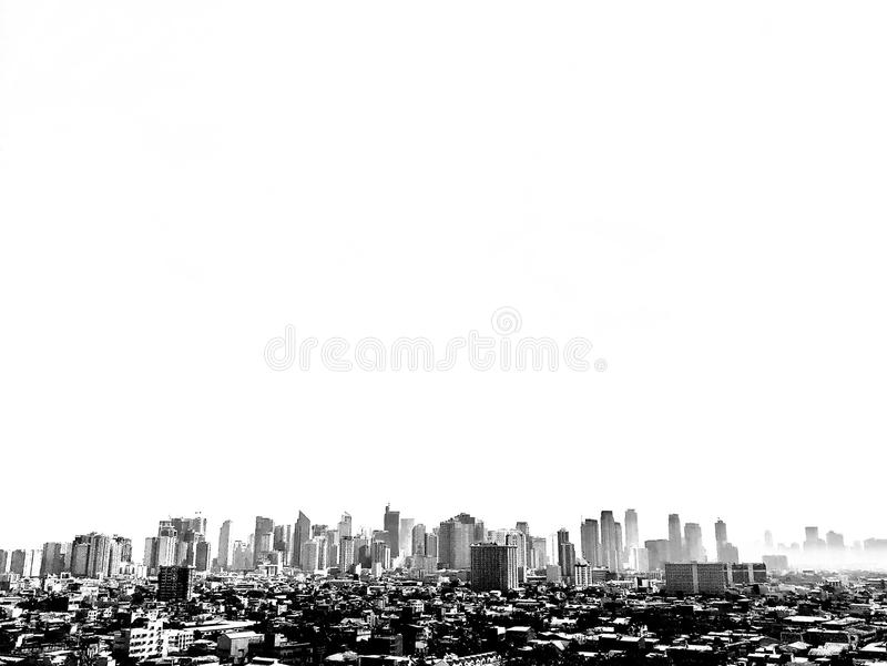 Miasto linia horyzontu czarny i biały zdjęcie royalty free