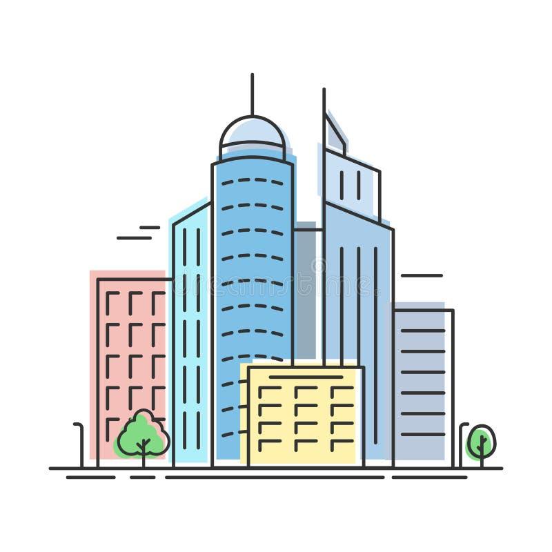Miasto linia horyzontu liniowa ilustracji