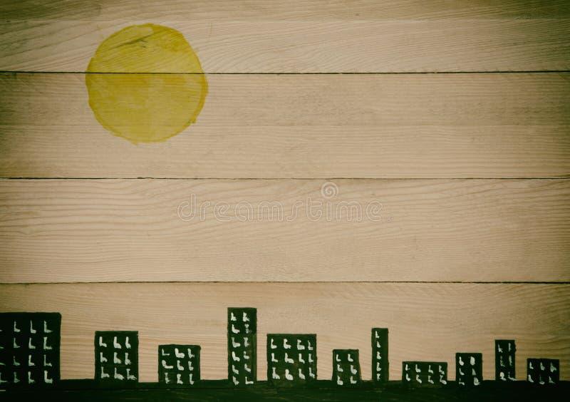 Miasto linia horyzontu na naturalnych drewnianych panel obraz stock