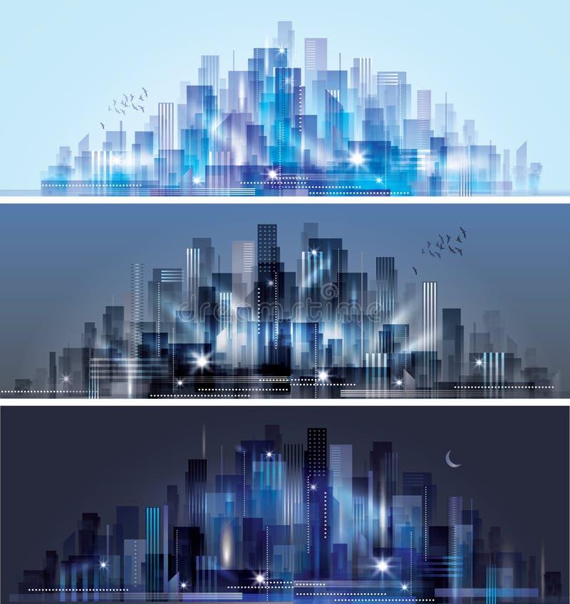 Miasto linia horyzontu przy nocą ilustracja wektor