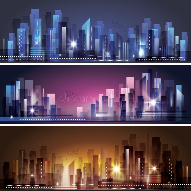 Miasto linia horyzontu przy nocą royalty ilustracja